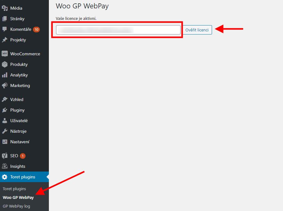 Toret GP Webpay - aktivace
