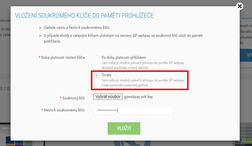 Toret WooCommerce GP Webpay vložení soukromého klíče