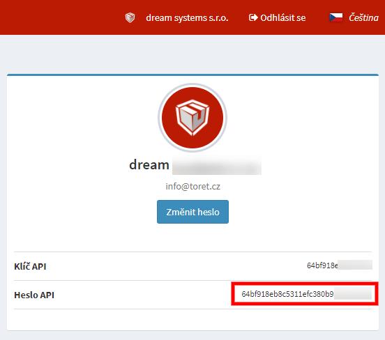Toret Zásilkovna - Heslo API
